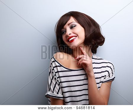 Happy Natural Laughing Young Short Hairstyle Woman In Fashion Blouse