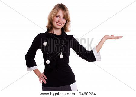 Busnesswoman presenting something