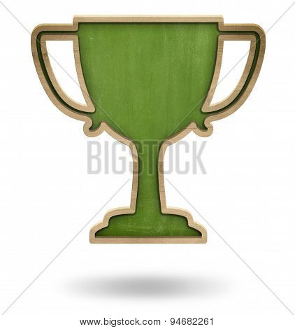 Green winner cup shape blackboard