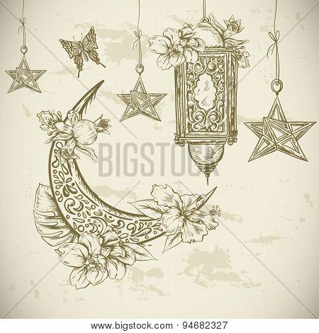Ramadan Kareem hand drawn vector illustration