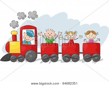 Happy little kids cartoon on a colorful train