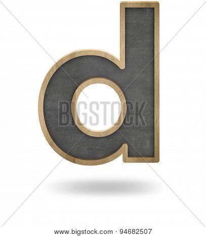 Black blank letter D shape blackboard
