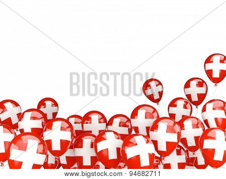 Flying Balloons With Flag Of Switzerland