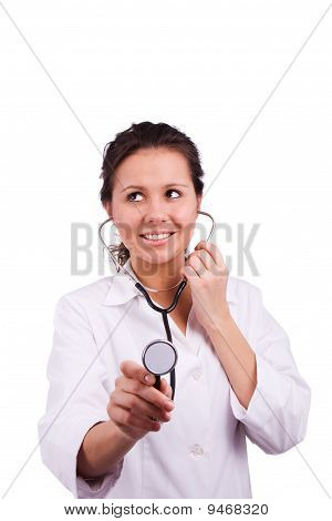 Woman doctor holding stethoscope