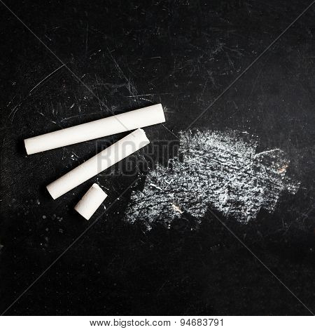 Black Chalkboard With White Chalk May Use As Background. School Concept