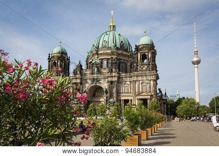 berlin cathedral and tv tower, berlin germany