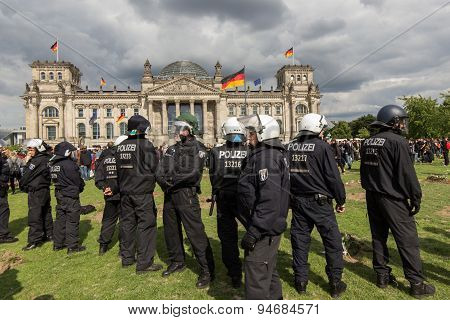 demonstration in front of german parliament , berlin