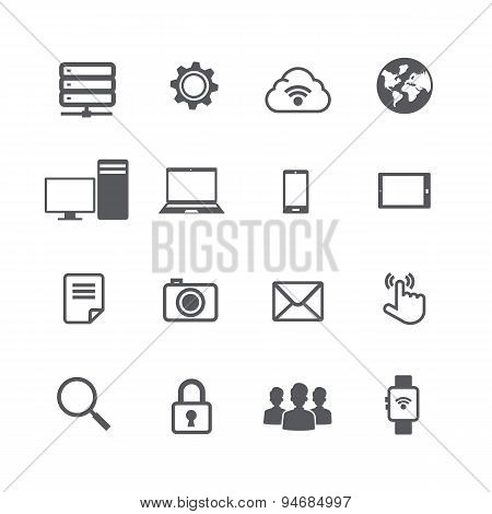 Set Of Computer And Social Network Connection Icon Isolated On White Background