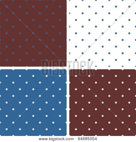 Tile blue, white and brown vector pattern set with polka dots