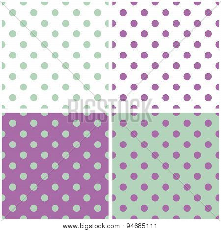 Tile vector pattern set with pastel violet, white and green polka dots