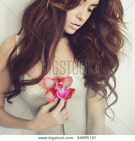 Beautiful Lady With Orchid