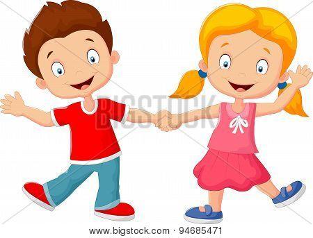 Cartoon little kids holding hand