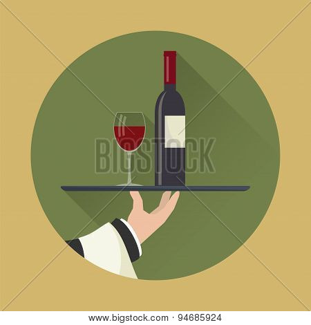 Waiter With Wine Bottle And Wine Glass