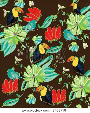 flowers birds and Toucan