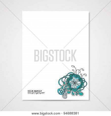 Graphic design letterhead with hand drawn ornament.