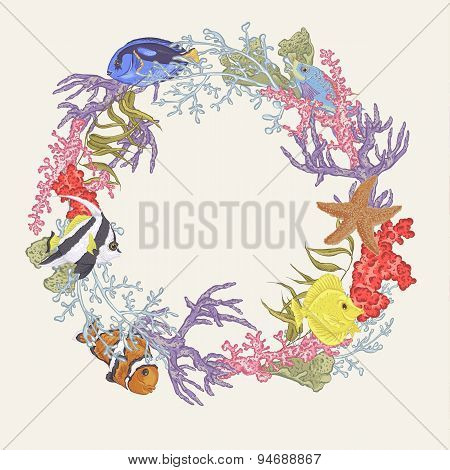 Sea life Vintage Round Frame with Fish and Seaweed
