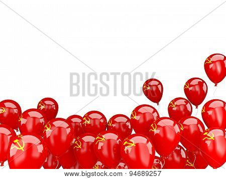 Flying Balloons With Flag Of Ussr