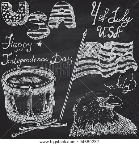 Usa Waving Flag, Bald Eagle And Drum With Drumstiks, American Symbols, Forth Of July Set, Hand Drawn
