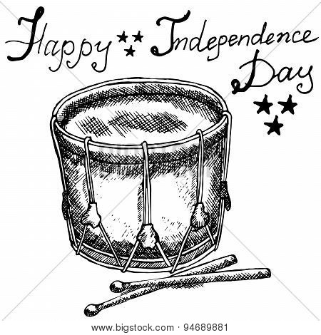 Drum With Drumstiks, American Symbol, Forth Of July, Hand Drawn Sketch, Text Happy Independence Day,