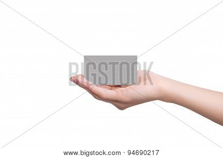 Credit Card Female Holding In Hand
