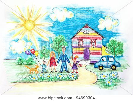 Watercolor Childrens Sketch With Happy Family
