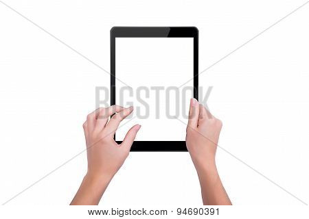 The Tablet In The Hands Of A Girl
