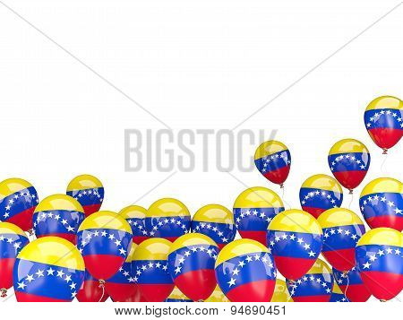 Flying Balloons With Flag Of Venezuela