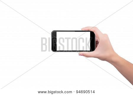 Girl Holding The Phone Upright In Her Right Hand