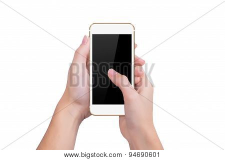 Girl Presses The Gold Phone Screen