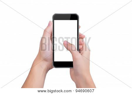 Girl Presses The Phone Screen Finger Of A Hand