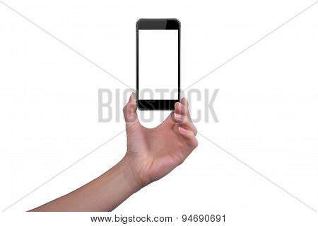 Woman Shows The Phone In One Hand