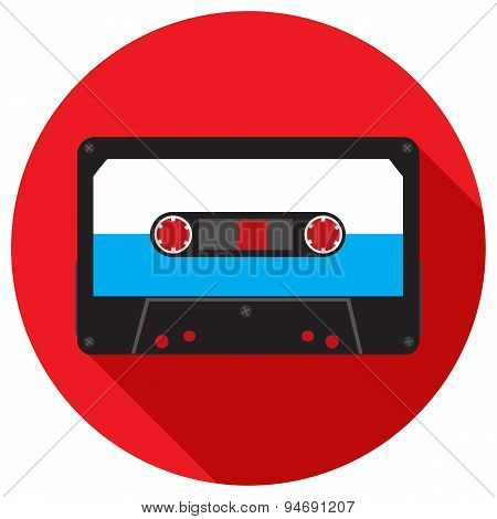 Retro Analog Audio Cassette. Vector Illustration.