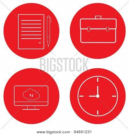 Set Of Office Icons. Diplomat, Paper, Computer, Clock.