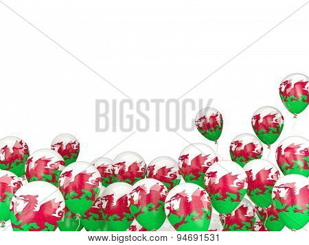 Flying Balloons With Flag Of Wales