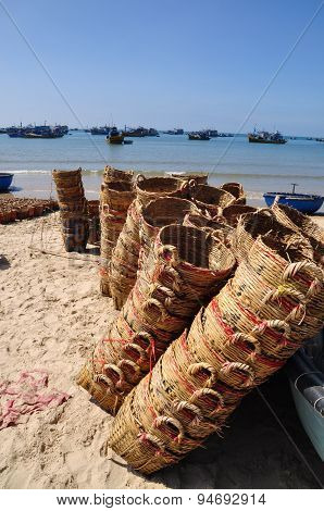 Lagi, Vietnam - February 26, 2012: Baskets Used For Transporting Fishes From The Boat To The Truck A