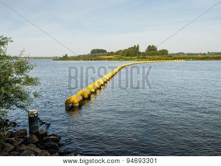 Barrier Of Floating Switched Yellow Objects