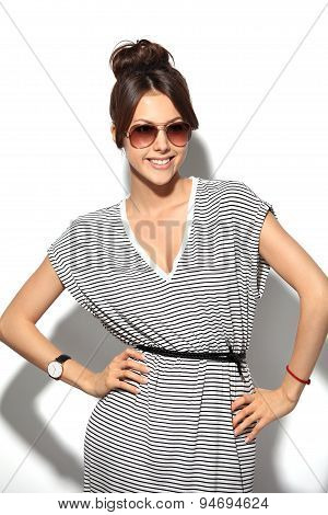 High Fashion Look.glamor Stylish Beautiful Young Woman Model In Summer Hipster Cloth