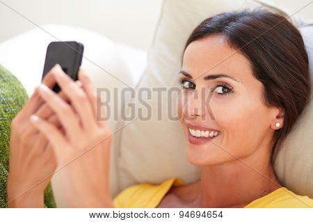 Beautiful Woman Lying On Her Back