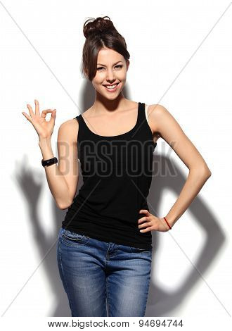 Happy Smiling Brunette Woman With Ok Hand Sign