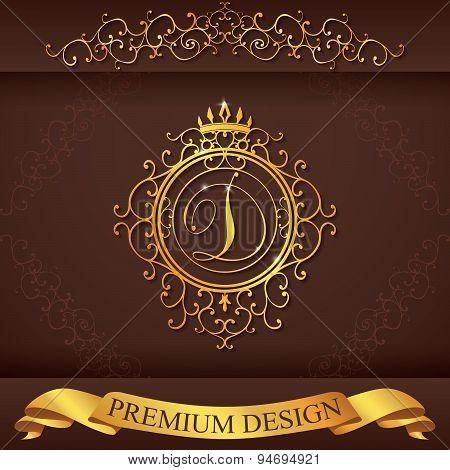 Letter D. Luxury Logo Template Flourishes Calligraphic Elegant Ornament Lines. Business Sign, Identi