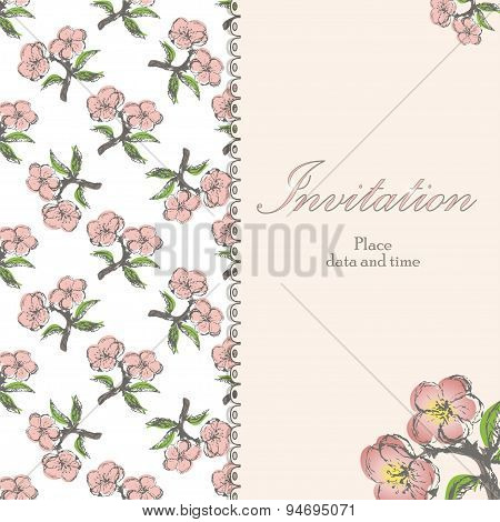 Beautiful floral invitation card with apple twig