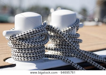Black and white rope on a boat