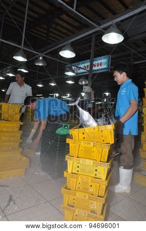 Ho Chi Minh City, Vietnam - November 28, 2013: Plenty Of Fisheries In Tanks Are Waiting For Purchasi