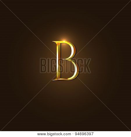 Modern Vector Illustration of Gold Letter B Template for Company Logo, your Design Element, or Icon.