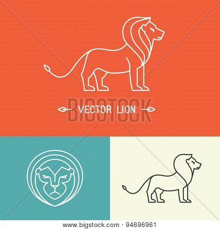 Vector Lion Logo Template In Trendy Linear Style
