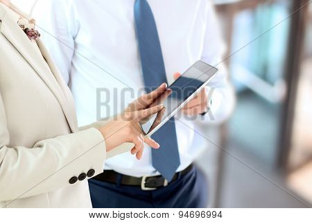 Image Of Business Partners Using Digital Tablet At Meeting