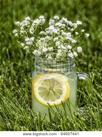 Lemonade In He Grass With Flowers