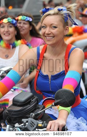 San Francisco – June 28: Paraders On Market Street In The Sf Pride Parade Enjoy The Day. This Rider