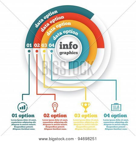 Business circle infographic, chart, diagram, presentation four steps