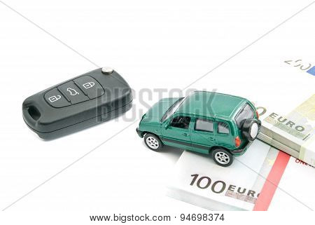 Green Car, Euro Notes And Black Car Keys